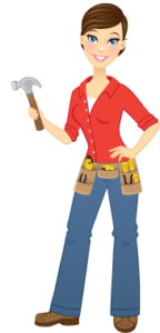 Lady with hammer and tool belt